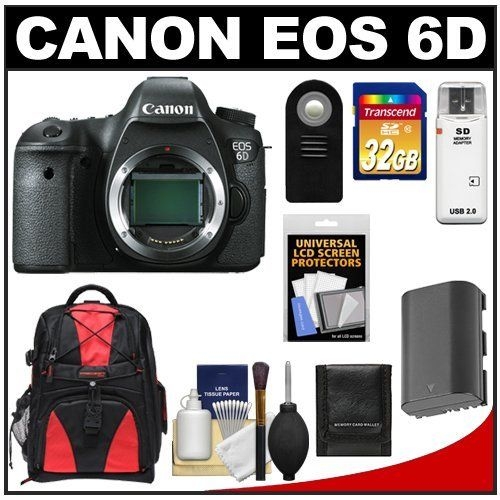 Canon EOS 6D Digital SLR Camera Body with 32GB Card + Battery + Backpack + Remote + Accessory Kit by Canon. $2099.95. Kit includes:♦ 1) Canon EOS 6D Digital SLR Camera Body♦ 2) Precision Design Multi-Use Laptop/Tablet Digital SLR Camera Backpack Case (Black/Red)♦ 3) Transcend 32GB SecureDigital Class 10 (SDHC) Ultra-High-Speed Card♦ 4) Spare LP-E6 Battery for Canon♦ 5) Vivitar RC-6 Wireless Shutter Release Remote Control for Canon Digital SLR Cameras
