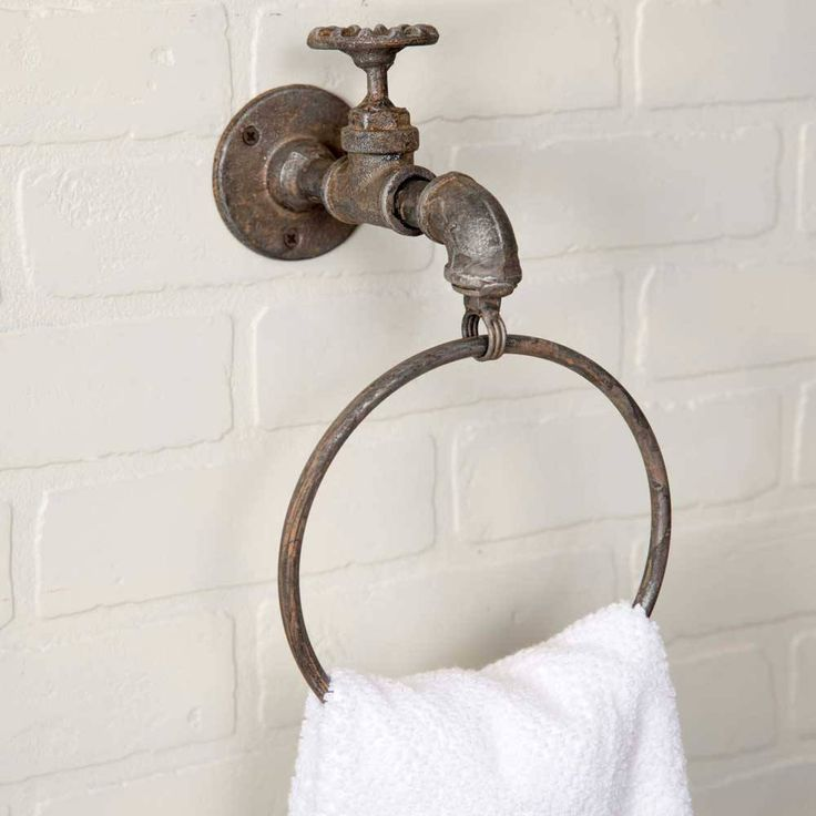 Water Faucet Towel Ring such a cute accessory for your bathroom. water spigot attaches to the wall and the ring comes out the water spout. Rustic, very...