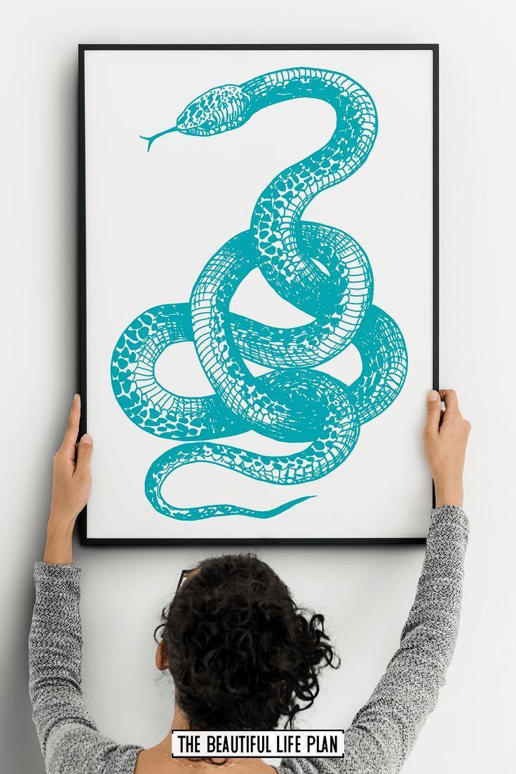 Turquoise Snake Print, Printable Snake Wall Art, Snake Drawing – Digital Download Art Print – Etsy Handmade Styles! PIN FOR PIN BOARD! *