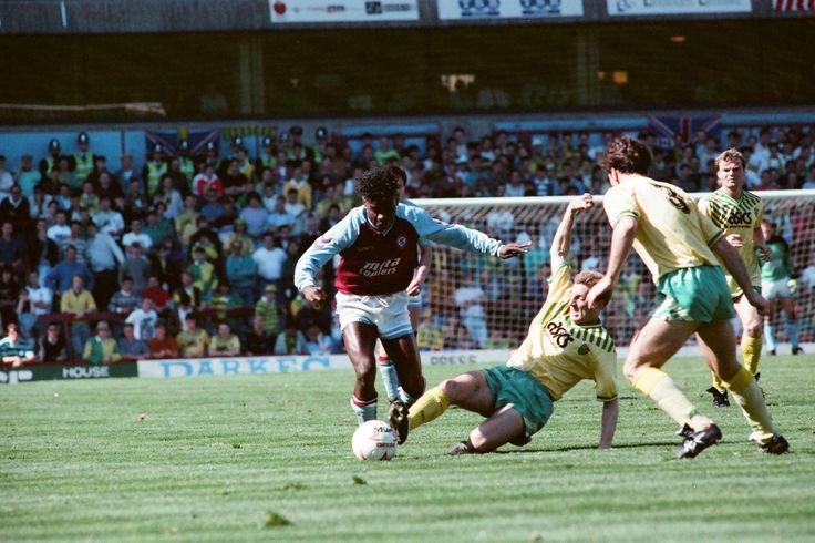 Tony Daley for action for Aston Villa v Norwich City, league match at Villa Park April 1990