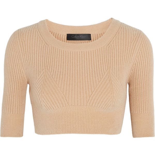 Calvin Klein Collection Cropped ribbed knitted top found on Polyvore