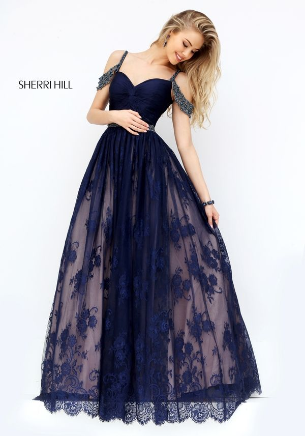 Newest Sherri Hill 50595 Style A-line Lace Tulle Prom Dress