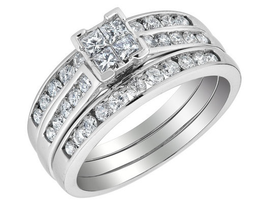Best 25 double wedding bands ideas on pinterest double band princess cut diamond engagement ring double wedding band set 20 carat ctw in junglespirit Images