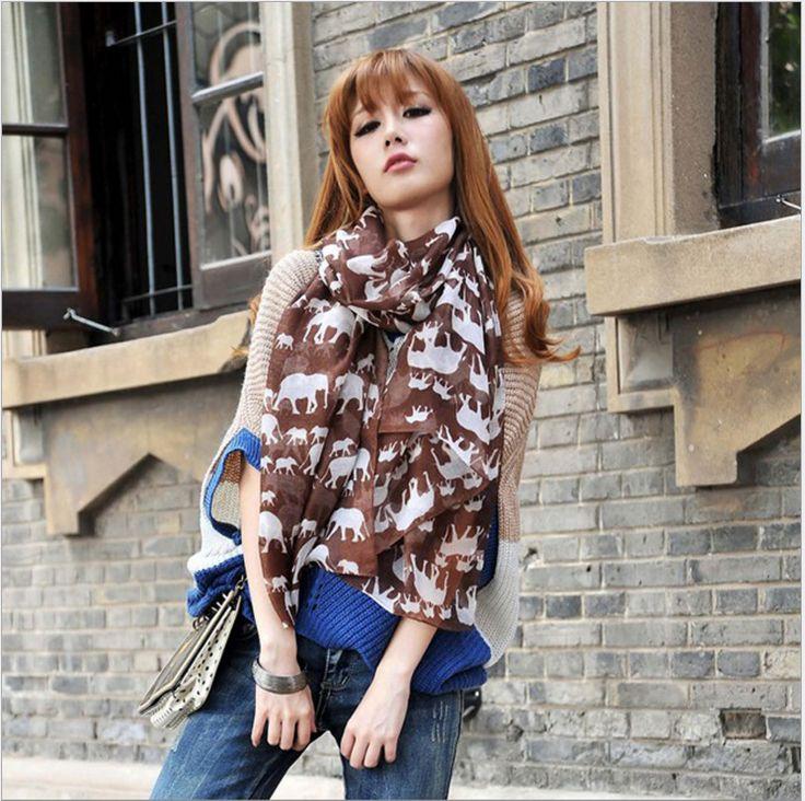Coffee elephant scarf shawl