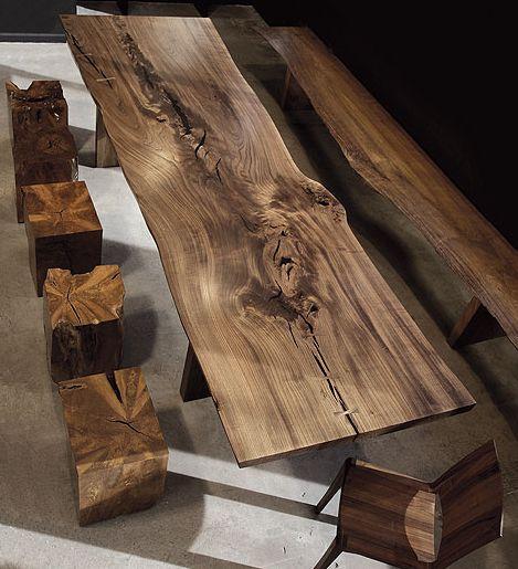 Mesa comedor trozo madera rustica mesas pinterest for Mesas rusticas de madera maciza