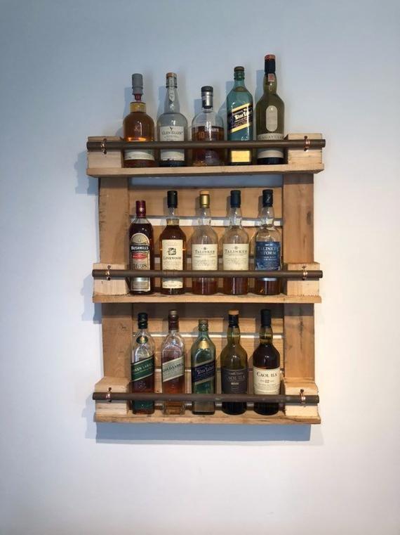 Original Maverick Goose Whisky Drinks Shelf Storage Rustic Handmade Bespoke Upcycled Drink Shelf Home Bar Designs Simple Outdoor Kitchen