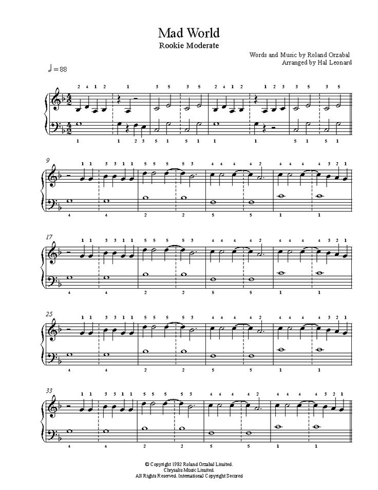 Mad World by Gary Jules Piano Sheet Music   Rookie Level