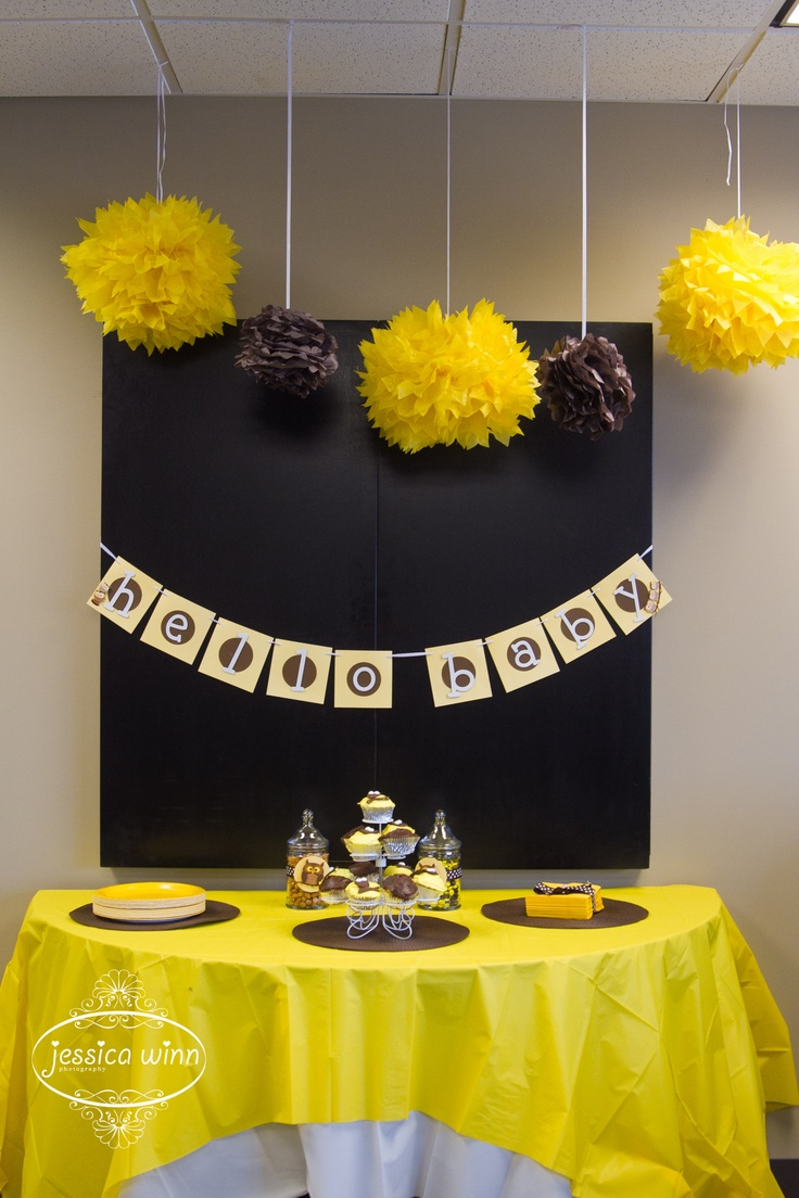 Brown And Yellow Owl Themed Office Baby Shower