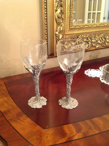 Seagull Pewter Wine Glasses - Grapes Design.