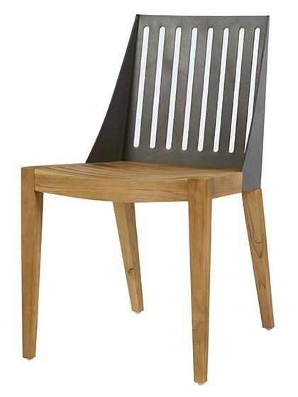 Calais Ali Dining Chair in Anthracite/Teak #globewest #contemporary #style #outdoor #furniture