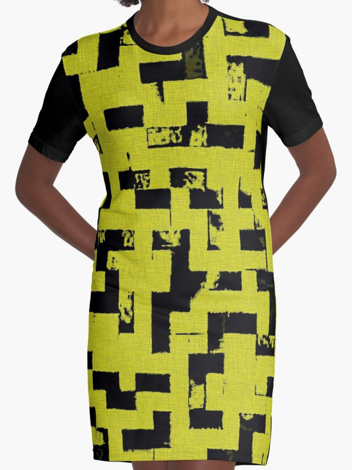 Line Art - The Bricks, tetris style, yellow and black by cool-shirts   Also Available as T-Shirts & Hoodies, Men's Apparels, Women's Apparels, Stickers, iPhone Cases, Samsung Galaxy Cases, Posters, Home Decors, Tote Bags, Pouches, Prints, Cards, Mini Skirts, Scarves, iPad Cases, Laptop Skins, Drawstring Bags, Laptop Sleeves, and Stationeries  #tetris #style #design #dress #yellow