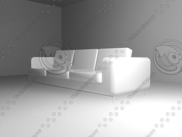 Clean White Leather Sofa 3D Max - 3D Model
