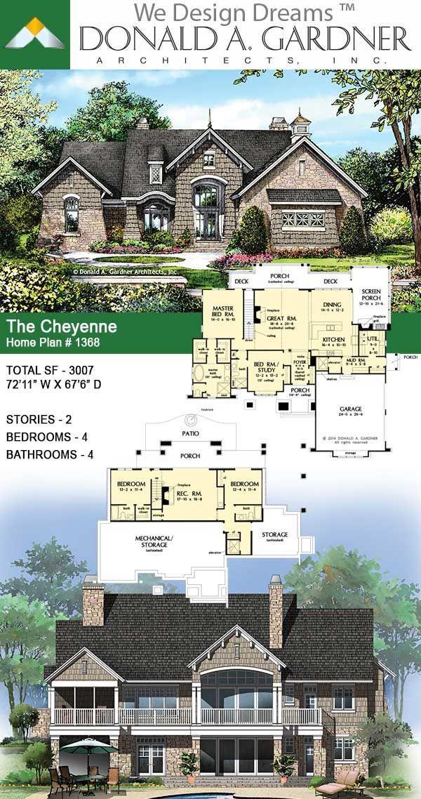 The Cheyenne House Plan 1368 D House Plans Basement House Plans Mountain House Plans