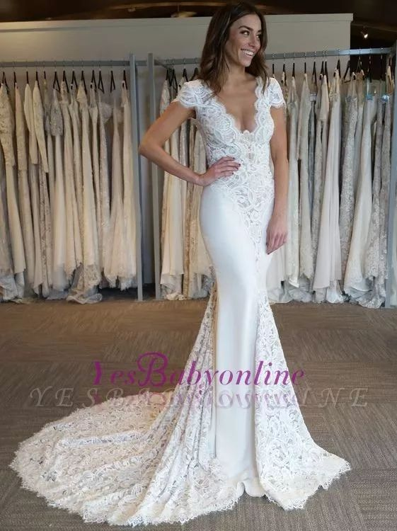 Court-Train Glamorous Mermaid Cap-Sleeves V-Neck Lace-Applique Wedding Dresses