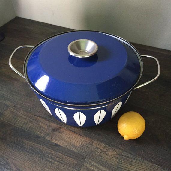 60s Cathrineholm Blue White Lotus Pot Enamel by BrainWashington