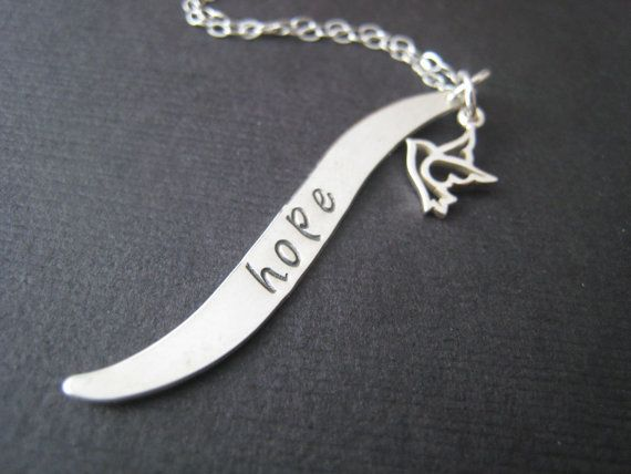 Personalized Hand stamped sterling silver wave by stampedjewellery, $52.00