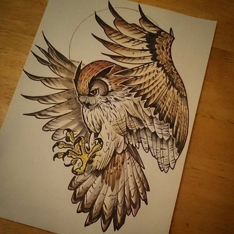Fantastic brown new school flying owl tattoo design