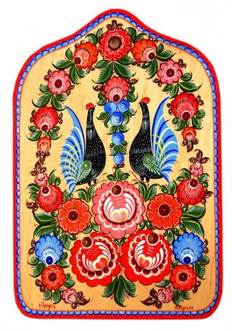 Folk Gorodets painting from Russia. Floral pattern with two cocks. #art #folk #painting #Russian