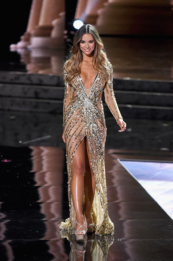 Miss Universe Australia 2015, Monika Radulovic, in evening gown at Miss Universe 2015
