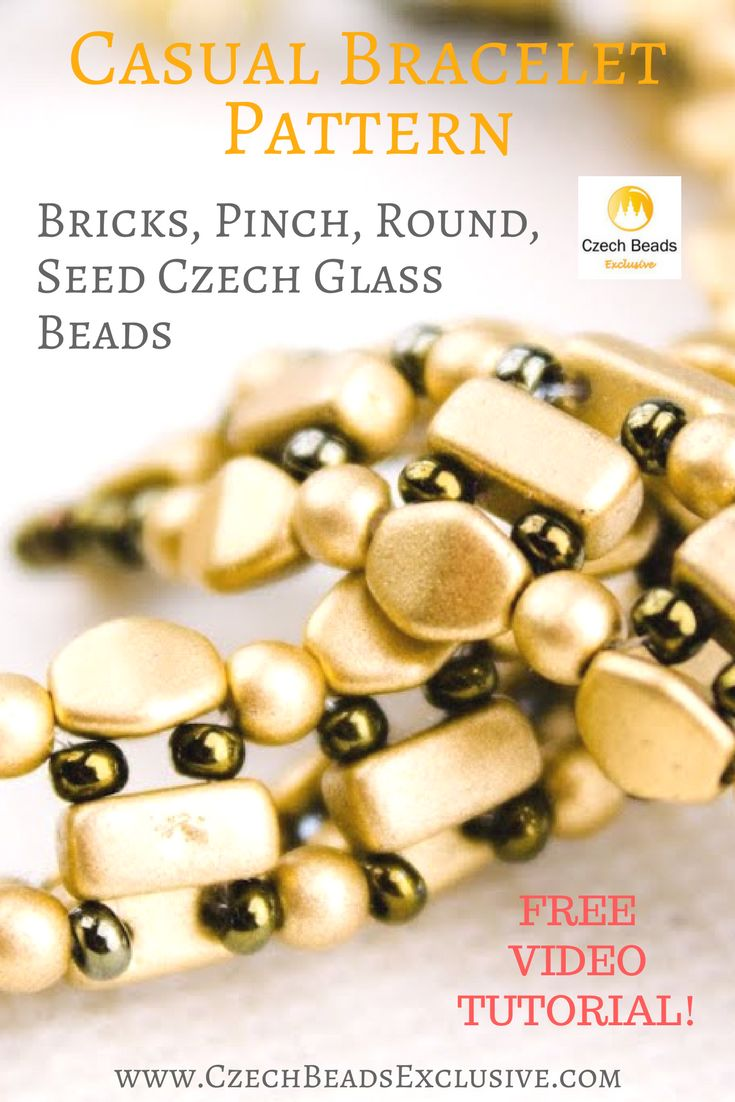 Bricks, Pinch, Round, Seed Czech Glass Beads � Casual Bracelet Pattern Free Video Tutorial | SAVE it! | CzechBeadsExclusive.com #czechbeadsexclusive #czechbeads