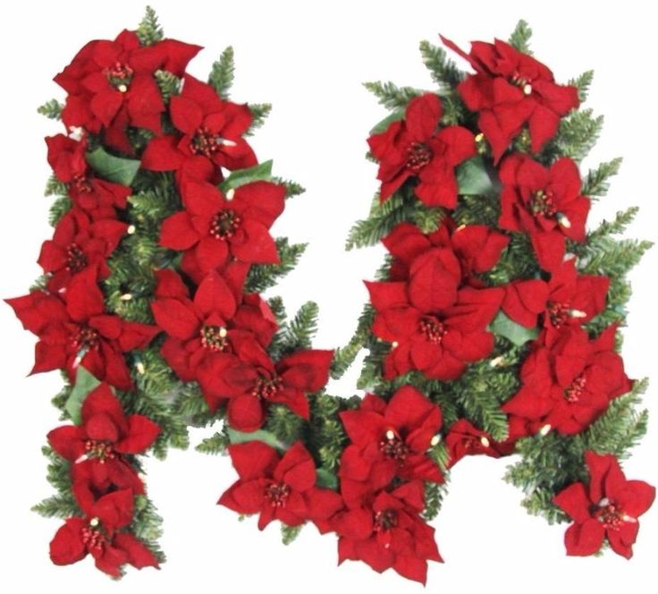 Battery Operated Artificial Poinsettia Garland with 50 Clear LED Lights 9 Feet #BatteryOperated #Artificial #Poinsettia #Garland #Clear #LED #Lights #ChristmasDecor #HomeAccents #ChristmasLights #HomeDecor #Holiday #HolidayDecor #Seasonal #Shopping #HolidayAccents