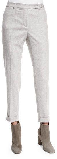 Loro Piana Jari Speckled Flannel Cuffed Pants