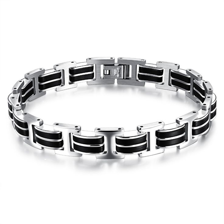 Genuine Silicone Mens Stainless Steel Casual Style Bracelet Double Safety Clasps