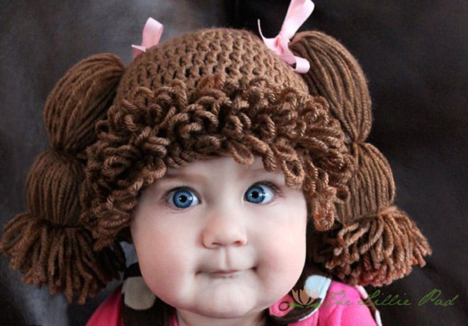 Cabbage Patch Kid Inspired Crochet Hat Dark Brunette