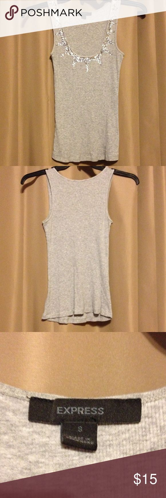 Grey Sequin tank top Express grey sequin tank top size small Express Tops Tank Tops