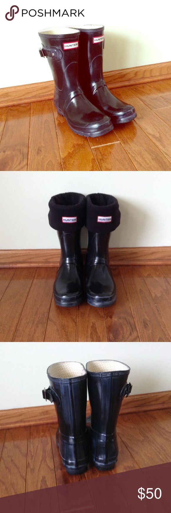 Hunter Short Boots (boot sock included) Classic Hunter boots in glossy black. Can be worn with or without boot sock (2nd pic is with boot socks on). Hunter boots are waterproof and will keep your feet dry in rain or snow. Hunter Boots Shoes Winter & Rain Boots