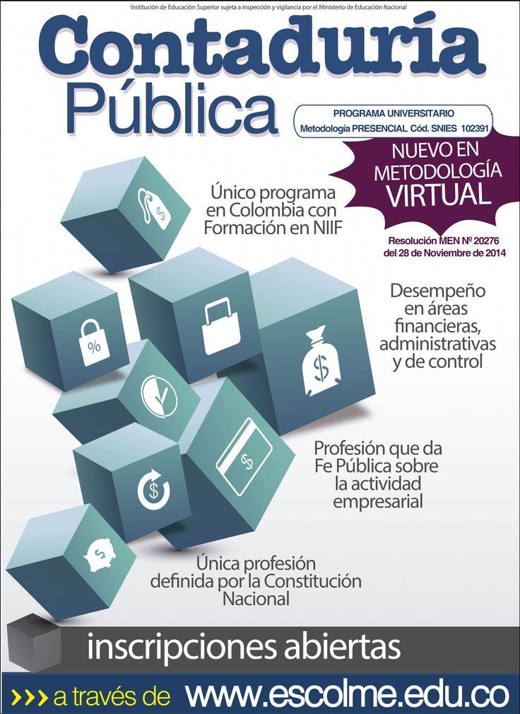 Contaduría Pública virtual o presencial, el título sigue siendo igual. Cliquéame para inscribirte http://bit.ly/1SrJ8MK o ingresa a www.escolme.edu.co Matrículas abiertas.