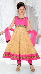 This exclusive golden cream georgette readymade kids anarkali suit which is beautified with kasab, embroidery and lace work. This dress has sizes available from 18 to 36...