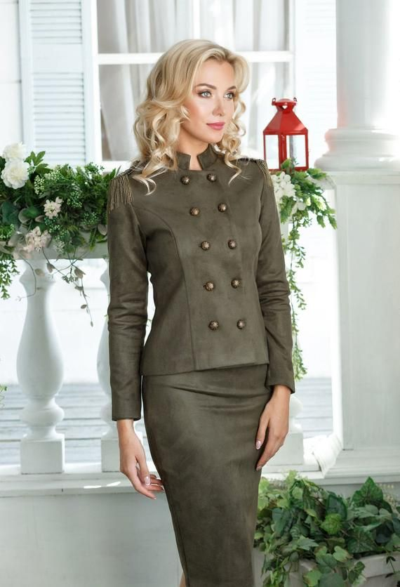 zip-up jacket and pencil skirt with spectacular flounce on the sleeves Business tweed suit for women classic female lined suit
