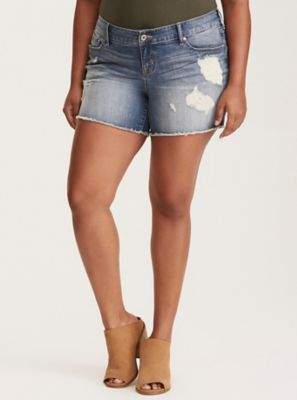 Skinny Shorts - Light Wash with Ripped Destruction and Frayed Hem in Blue