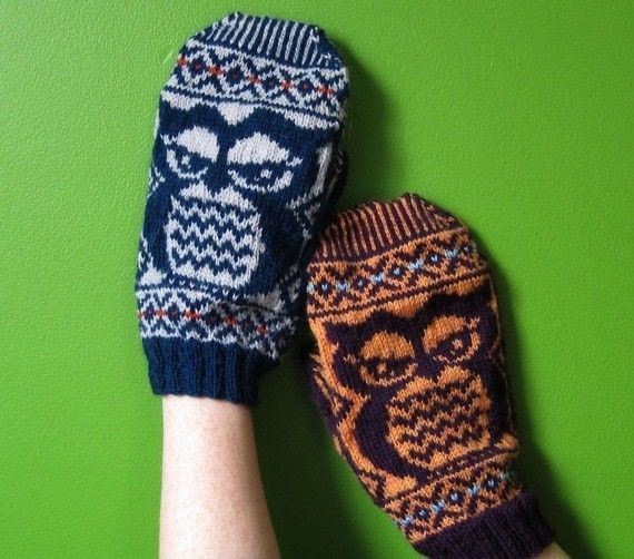 PDF knitting pattern Fair Isle Owlie Mittens by elf518 on Etsy, $5.00