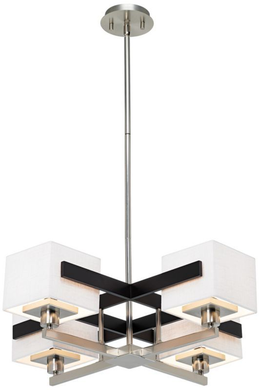 Possini Euro Design Mirrored Grids Metal And Wood Chandelier