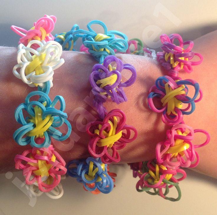 New Rainbow Loom Flower Fun Chain Bracelet