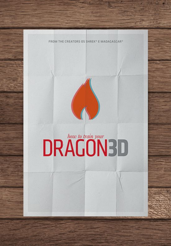 48 Minimal Movie Poster Designs - HOW TO TRAIN YOUR DRAGON 3D