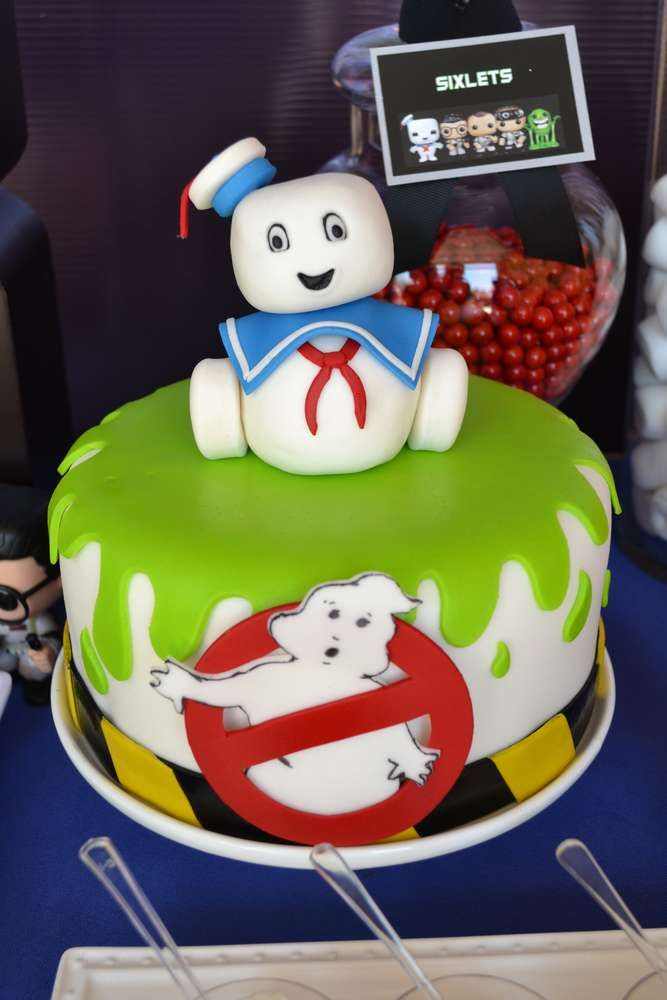 Fun cake at a Ghostbusters birthday party! See more party planning ideas at CatchMyParty.com!