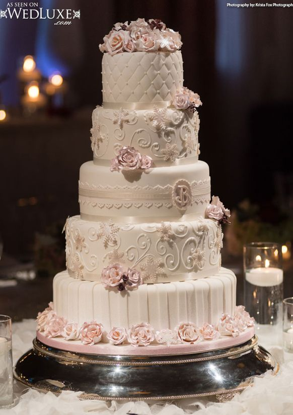 Luxury blush pink swirls and sugar flowers Wedding Cake