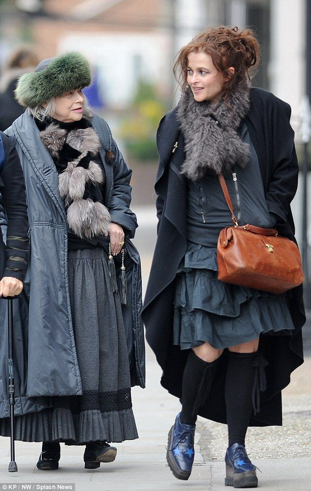 Not so original now: Helena Bonham Carter is seen matching in style to her mother Elena Propper de Callejon as they take a walk around Notting Hill together on Monday