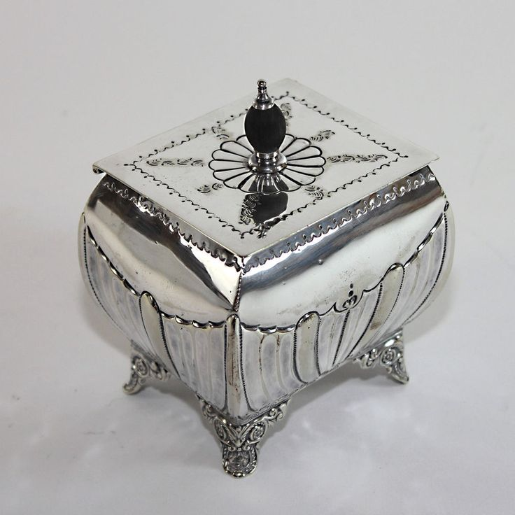 Antique English Silver Plate Tea Caddy #MSL