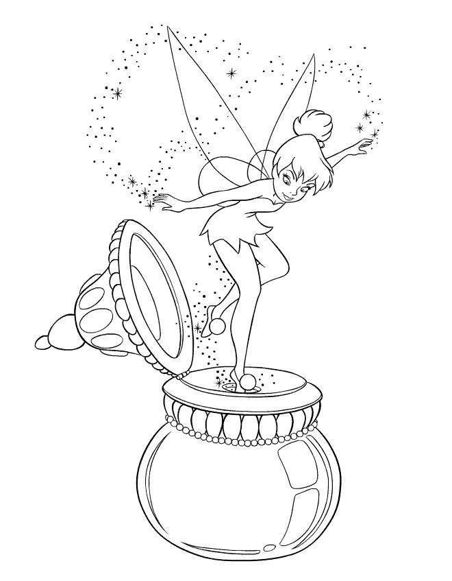 peter pan coloring page disney tinker bell - Peter Pan Coloring Pages Print
