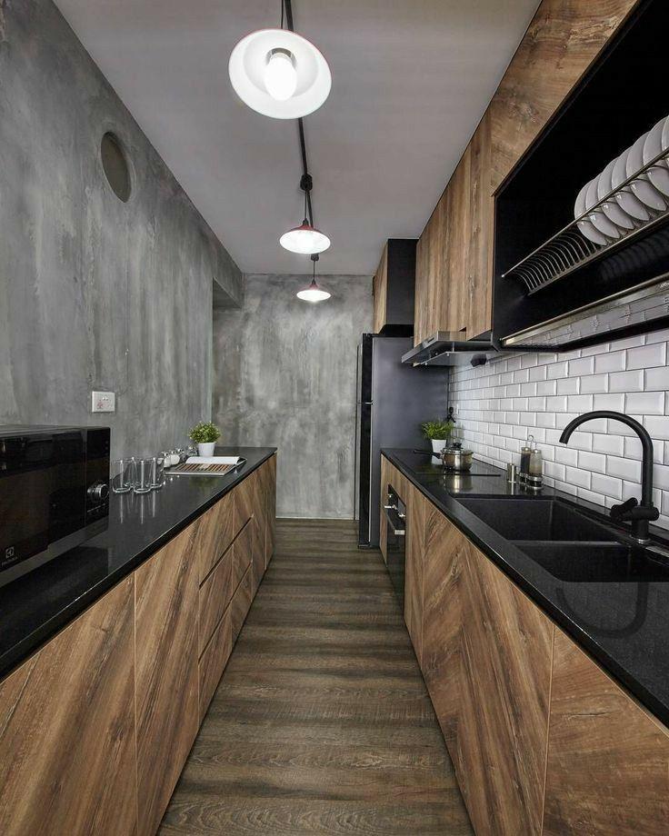 Il Perfetto Accostamento Del Nero Antracite Con La Finitura Legno Rovere In Cucina Nel 2020 Interior Design Design Cucina Di Lusso