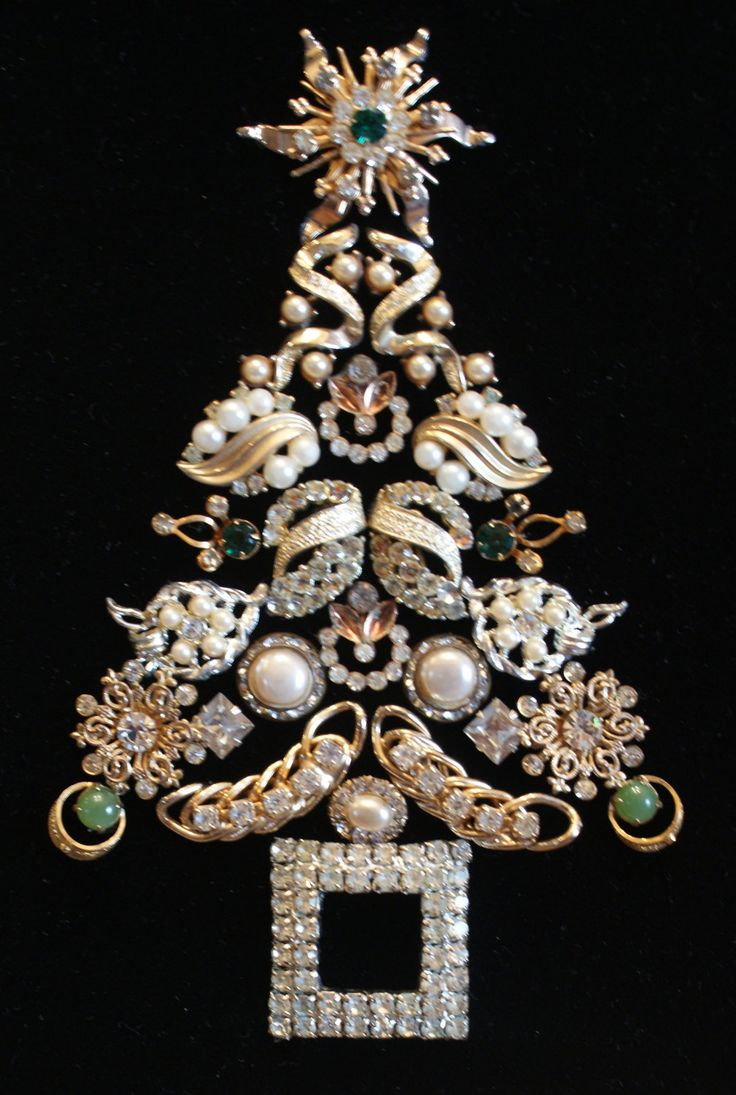 Framed Antique and Vintage Jewelry Christmas Tree by PipersPieces