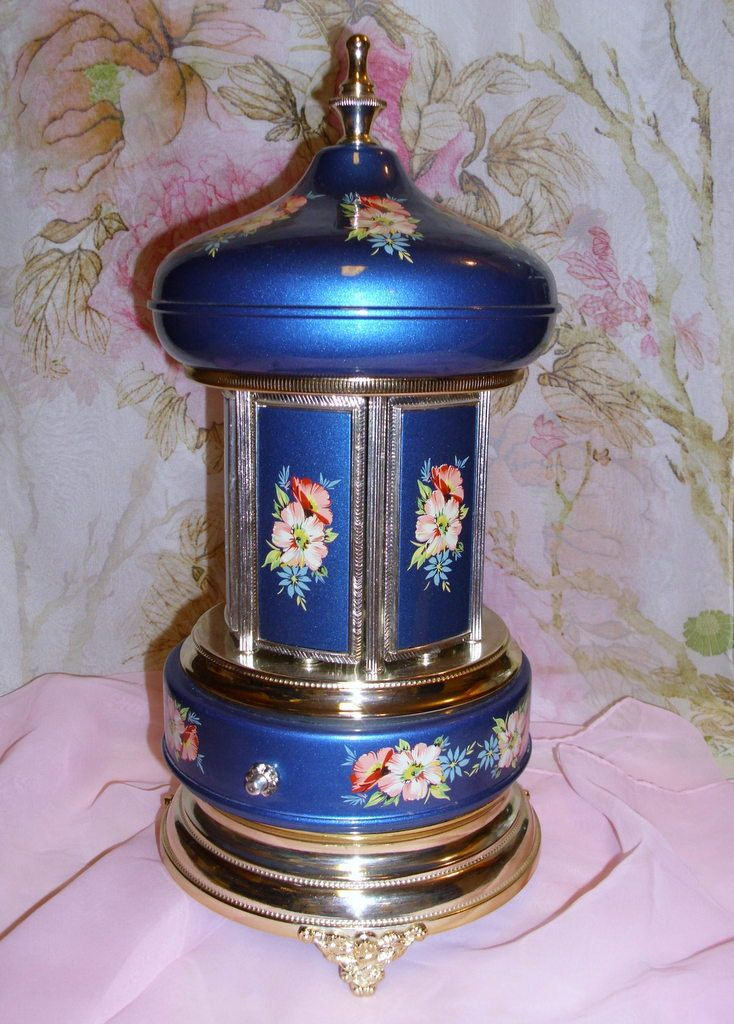 Vintage Italian,  Musical Carousel. Deep Blue Metal with Lovely Flowers. Swiss Movement Music Box. Very Nice Condition by GraysideCottage on Etsy