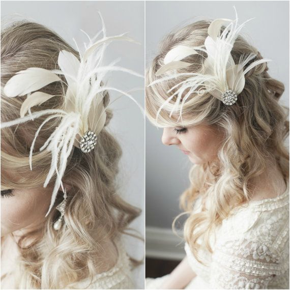 Bridal Fascinator, Great Gatsby Headpiece, Bridal Hairpiece. Wedding Fascinator, 20's Flapper Headpiece