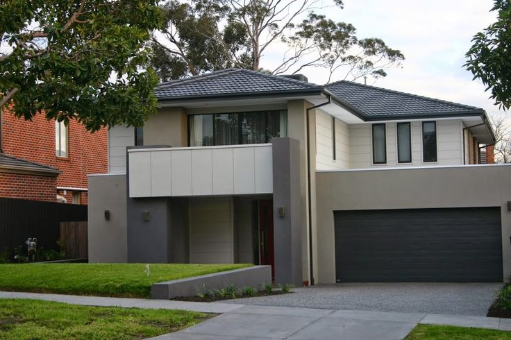 Cam & Kirsten - Building our new home with Metricon - Cladding - Dulux Hiefer Light Render - Dulux Champignon Dark Render - Dulux Raku Gutters, Fascia, Downpipes and Garage Door - Colourbond Monument