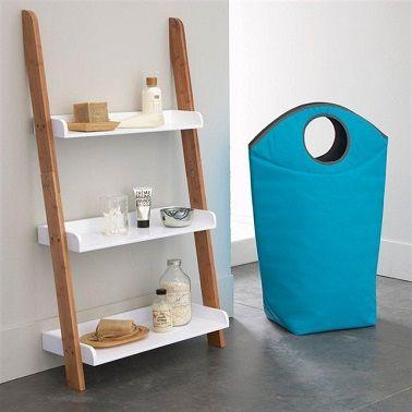 cette tagre chelle propose une relle alternative dorganisation dans la salle de bain - Echelle Salle De Bain Bambou