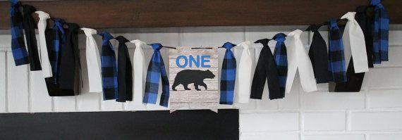 Lumberjack Birthday Banner, Camping Birthday Banner, Woodland Bear Banner,  Blue Lumber Jack Banner, One Bear Banner, Bear Birthday Party